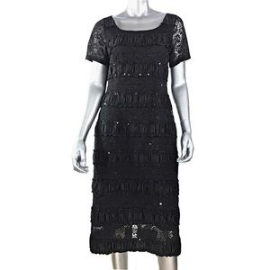 Kay Unger Black Lace Sequined Sheath Dress